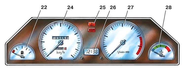 22 – указатель уровня топлива,