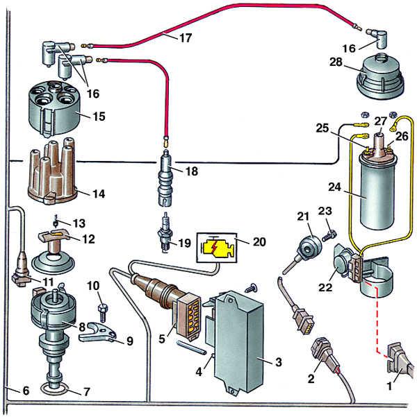 8 – распределитель зажигания;