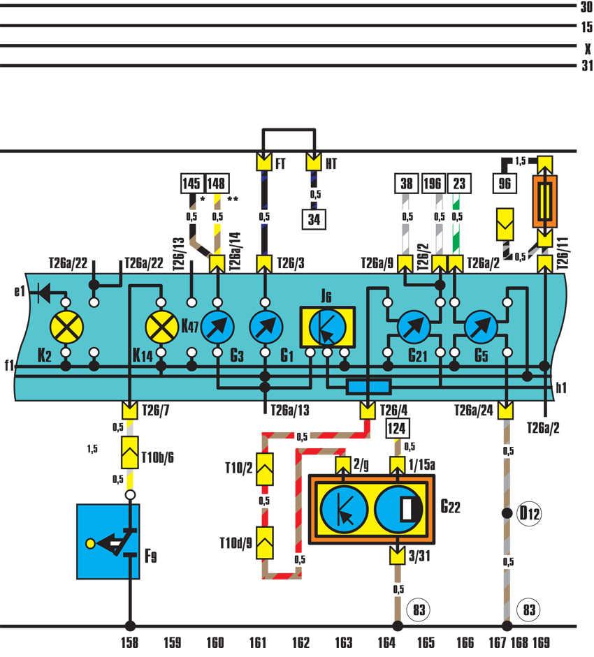 схема подключения датчика температуры ож на vw t4