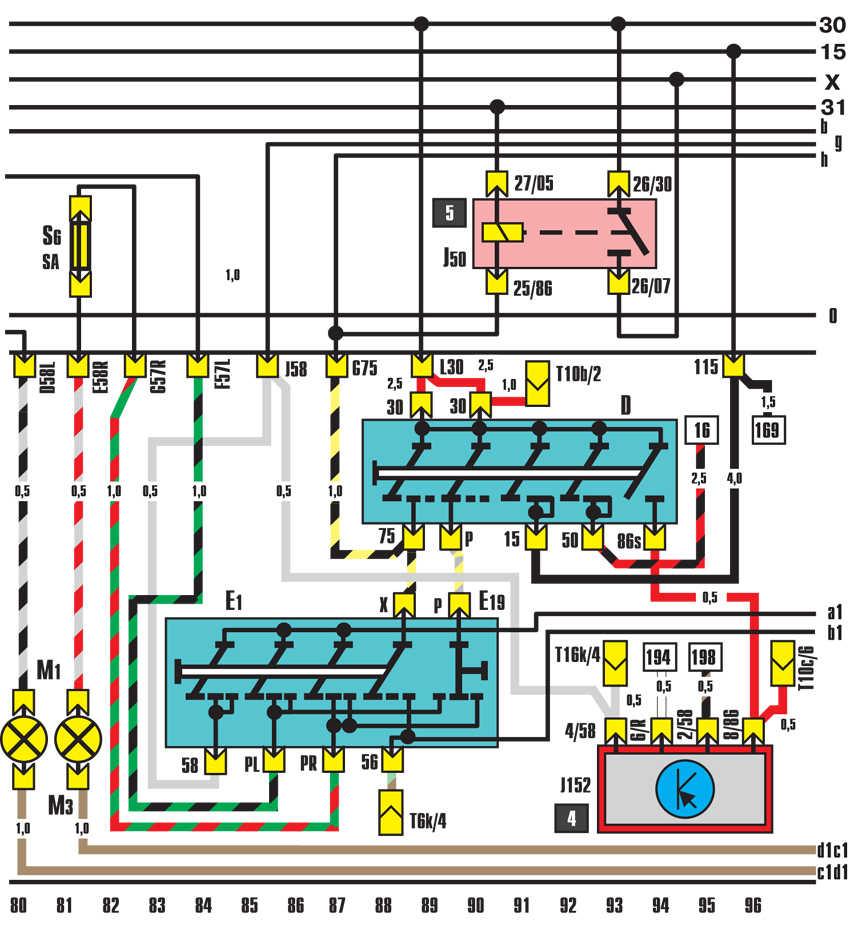 электрическая схема ауди 80 1983 г