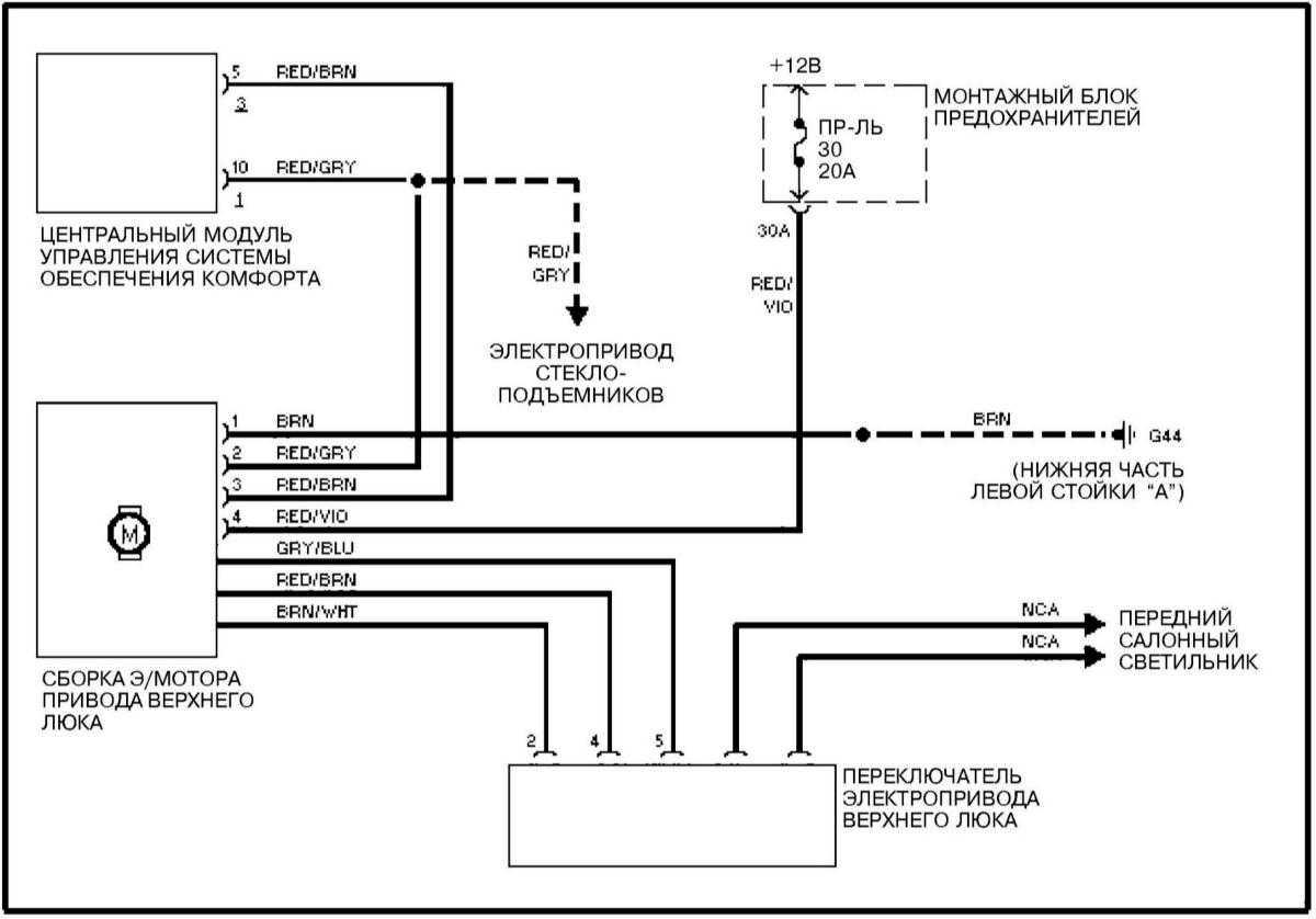 схема электролюка audi c4
