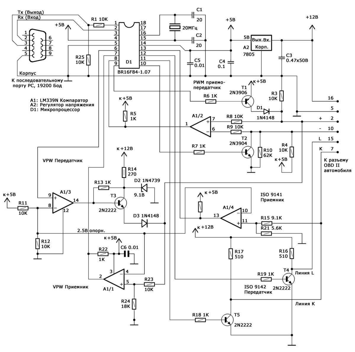 Схема организации подключения PC к диагностическому разъему DLC бортовой системы самодиагностики OBD II посредством...