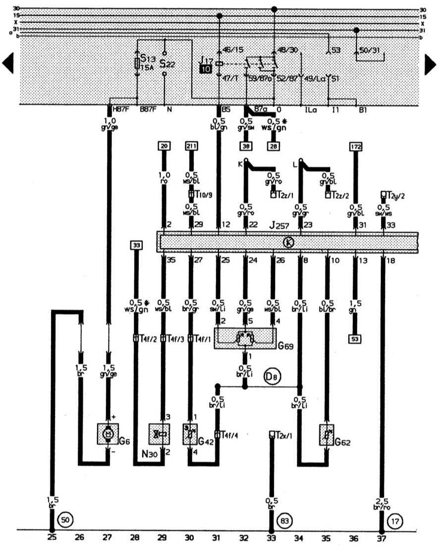 схема подключения вентилятора охлаждения audi 100