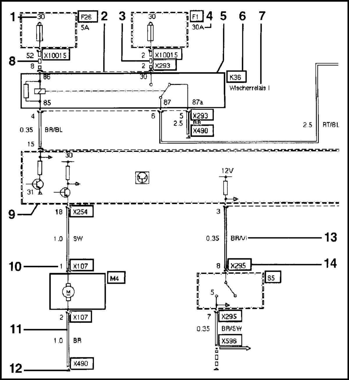 схема реле дворников bmw e39 1995