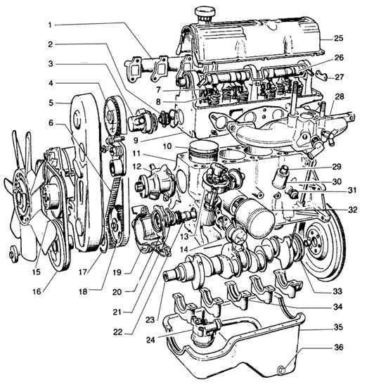 11 – блок цилиндров двигателя,