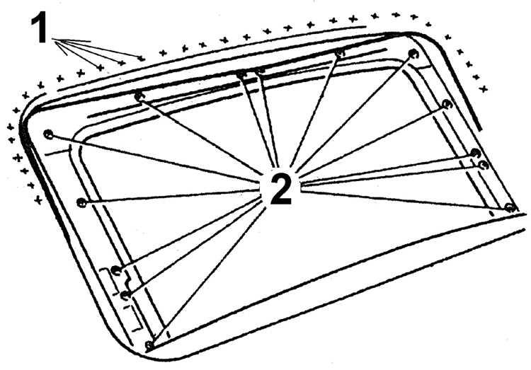 люка (1 – липкая лента,
