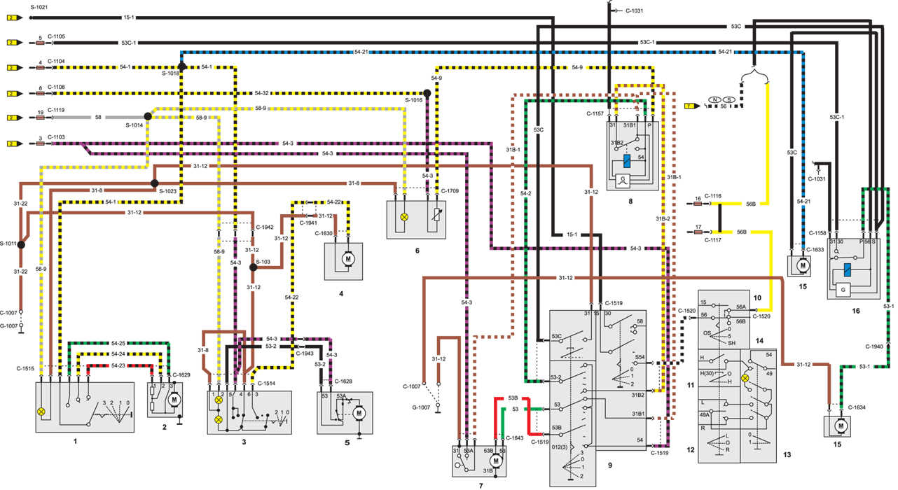 Схема электрического контура обогрева, вентиляции, стеклоочистителей Ford Sierra.