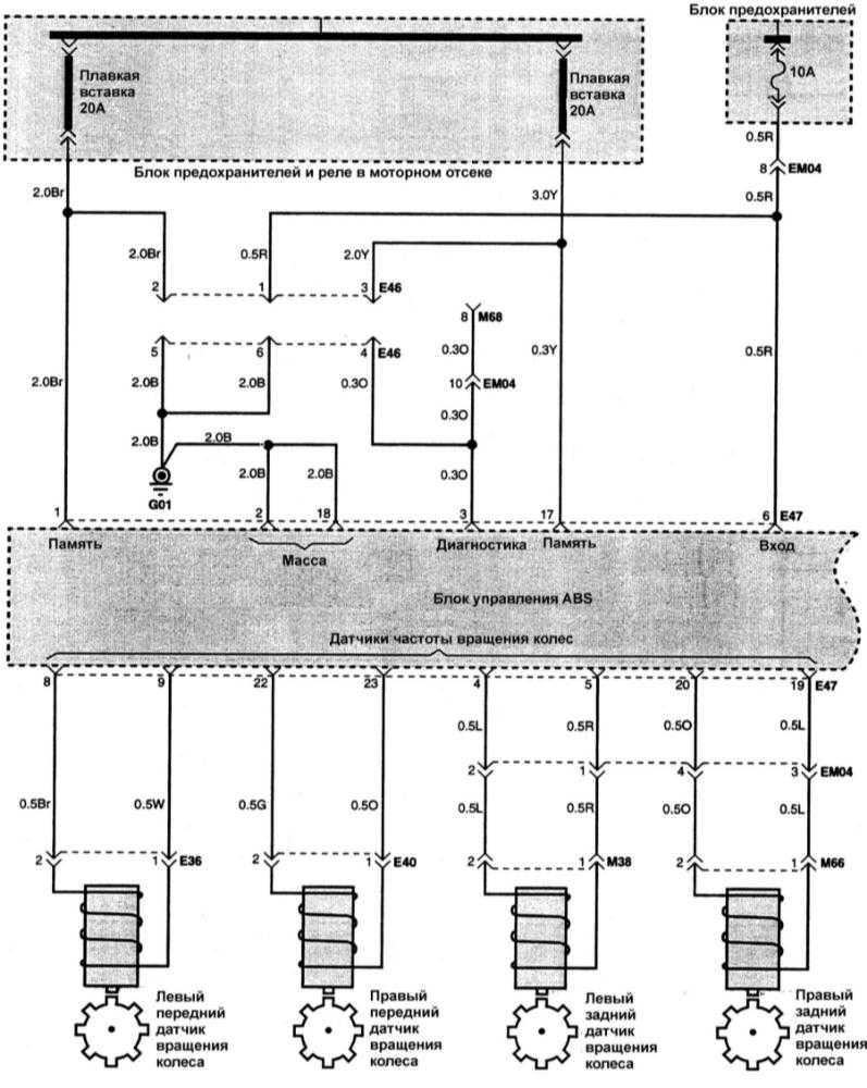 Электрическая схема ABS.