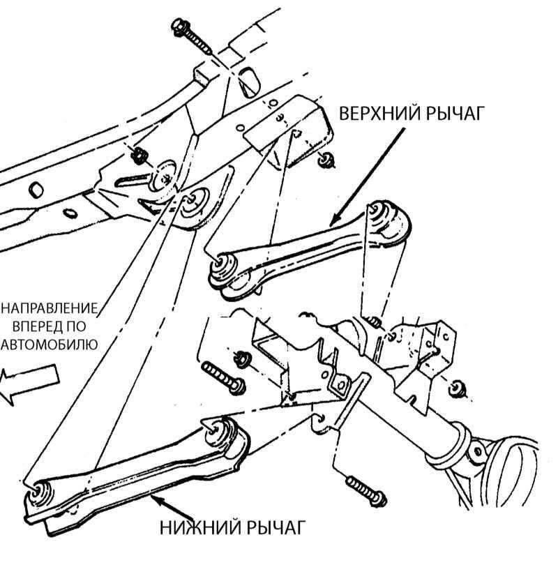 Детали установки рычага задней