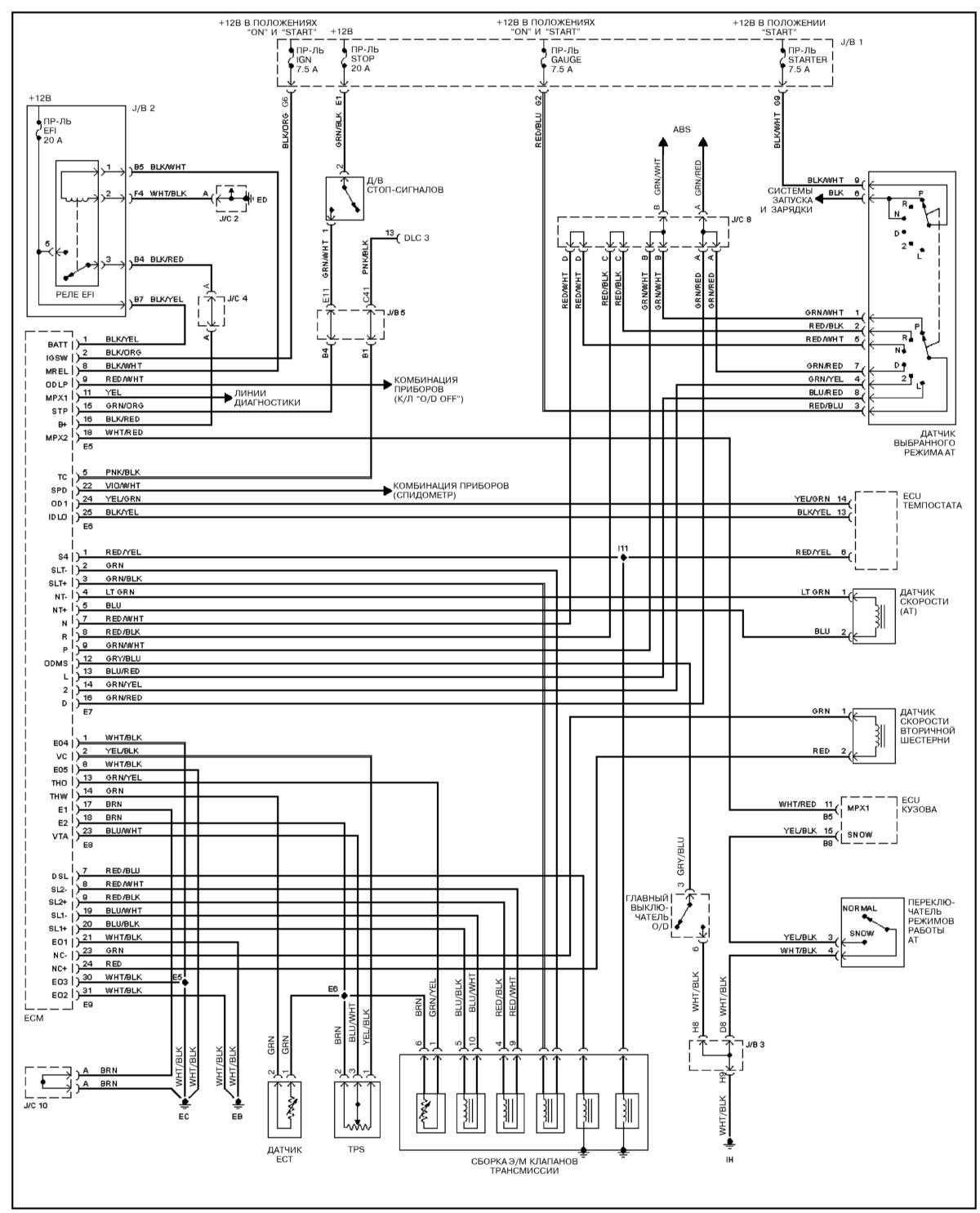 Ремонт и обслуживание/ Lexus RX300 1998-2003 14.  Принципиальные схемы электрических соединений.