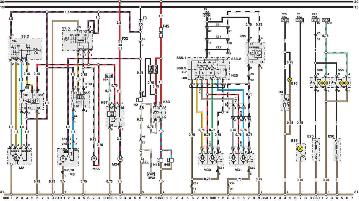 Электросхема Opel Astra - модели выпуска до февраля 1992 г. (часть 8) Opel Astra A.