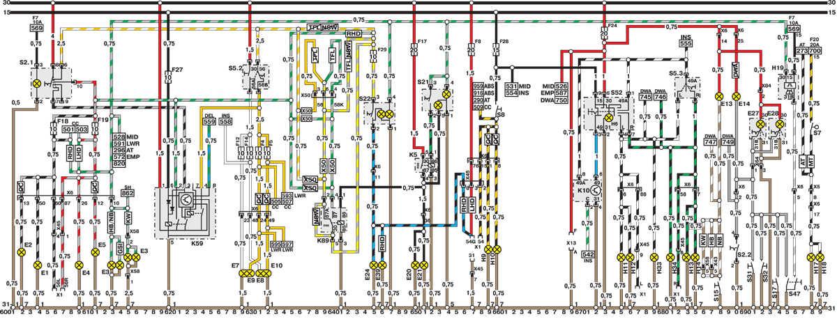 Эл схема opel astra h - Opel
