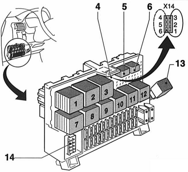 Схема расположения реле в