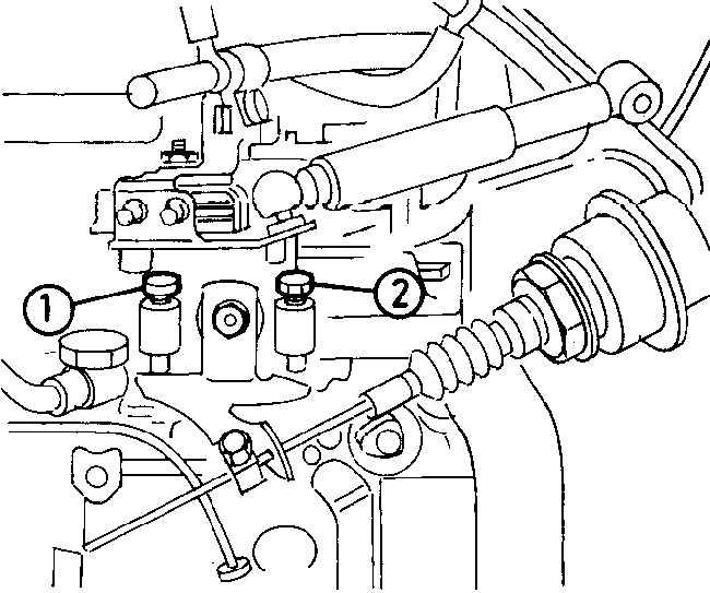 1 - хомут, 2 - рычаг привода.  Регулировочные винты холостого хода на ТНВД типа Bosch VE (дизельные двигатели 17DR) .