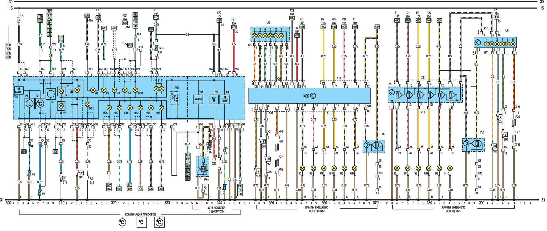 Опель вектра б схема приборной панели