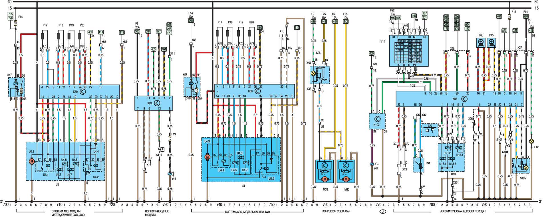Электрическая схема моделей с 1991 года Opel Vectra A.
