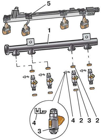 рампа с форсунками бензин мерседес 3,2