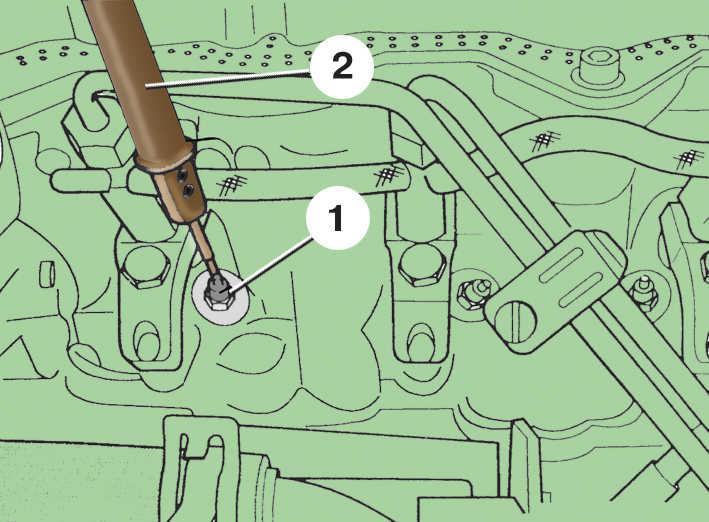 3. Поочередно коснитесь индикатором 2 свечей накаливания 1. В каждом случае светодиод индикатора должен гореть.