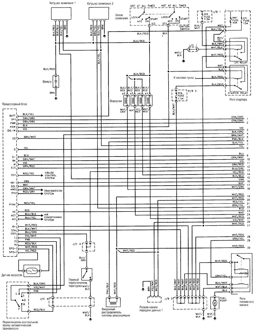 Типовая схема электрооборудования 4-цилиндрового двигателя Toyota Land Cruiser.