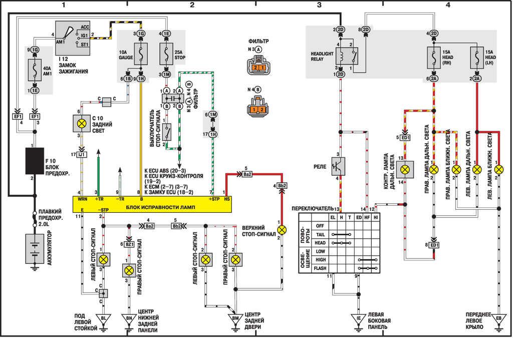 Электросхема стоп-сигналов и