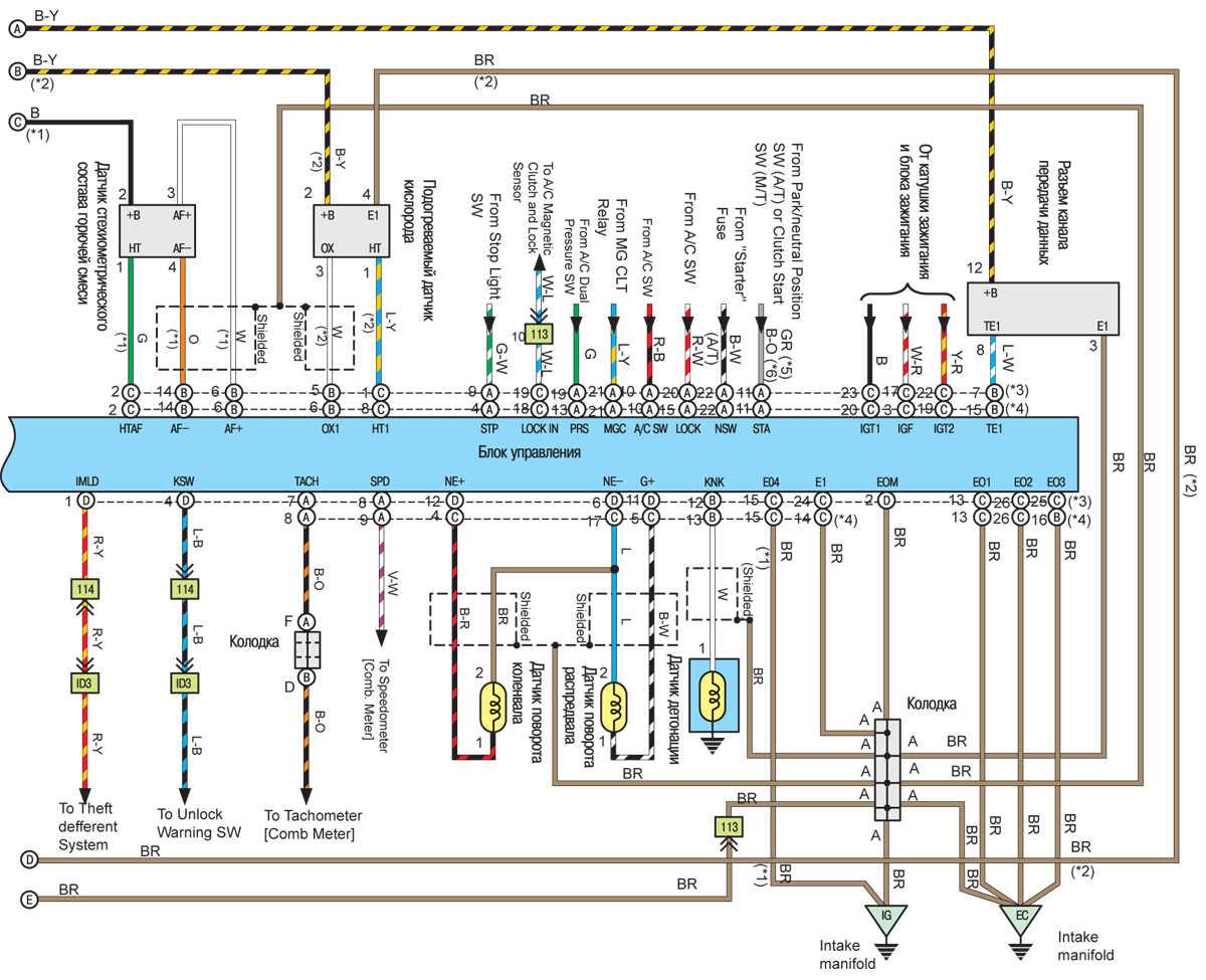 Система управления двигателем (4-цилиндровые двигатели) Toyota Camry.