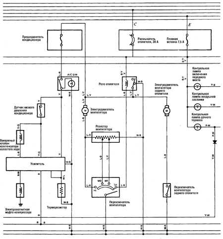 Cruiser FJ80 Принципиальная схема.  А/М 1980-1987 ГГ. Системы отопления, кондиционирования, приборы и аварийная...