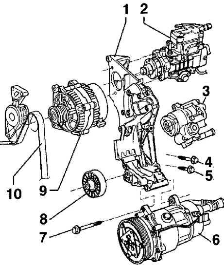 1 – кронштейн компрессора