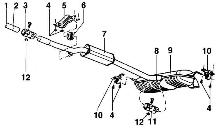 1 – передняя выхлопная труба;
