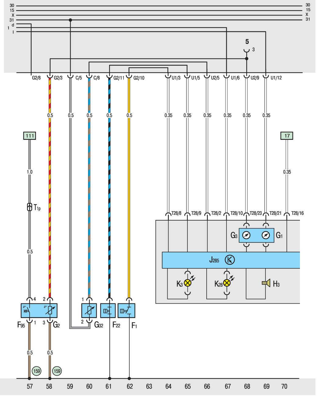 электрическая схема на т4 1,9д свечей накала