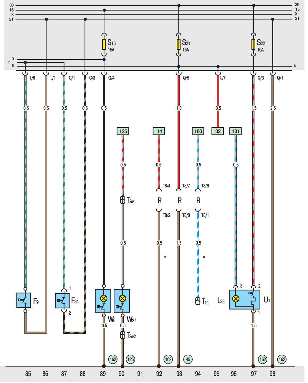 схема ручного тормоза ауди 80 б3